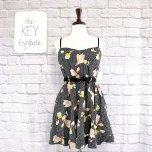 NWT Urban Outfitters Floral Black Motif Mini Dress